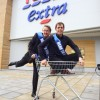 Nicholas Cochrane and Kevin Kennedy open new Tesco Extra in Stretford.