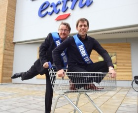 Nick Cochrane and Kevin Kennedy open new Tesco Extra in Stretford.