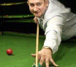 Joe Johnson at Snooker World Championships for Eurosport.