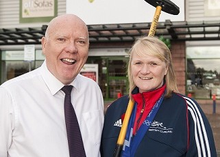 Rhona Martin MBE Olympic curling legend opens new Oakfurnitureland store in Glasgow